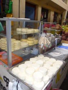 Fresh cheese on the farmers market Chachapoyas