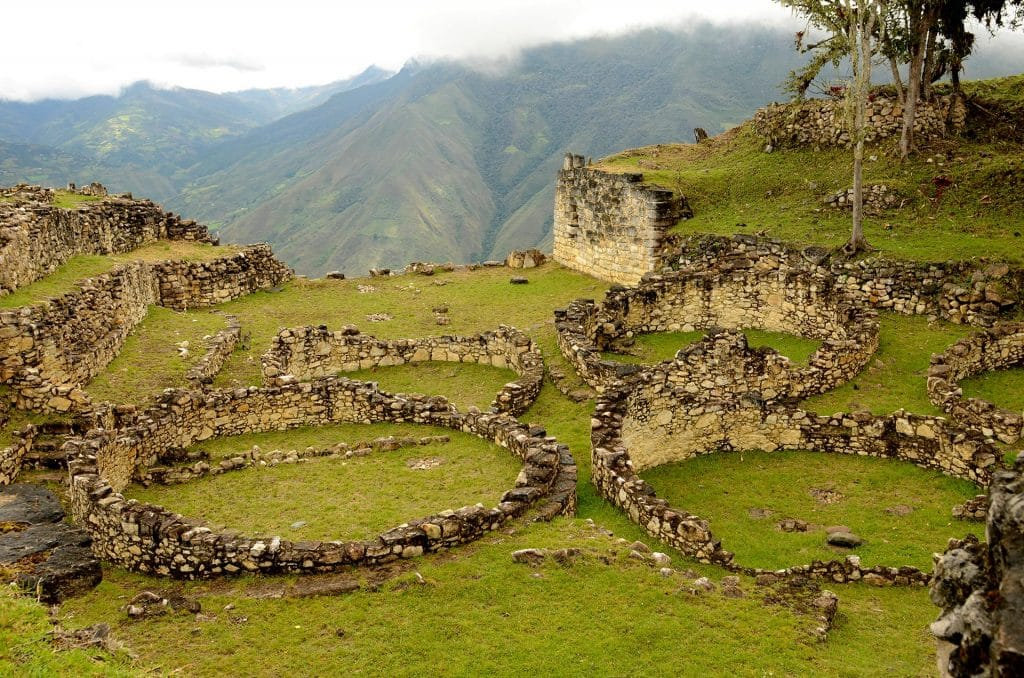 Ruins of round houses in Kuelap.