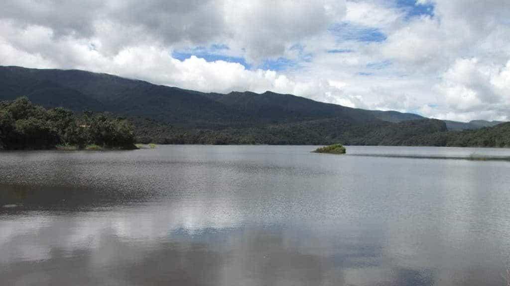 Immerged little island Lake Huamanpata
