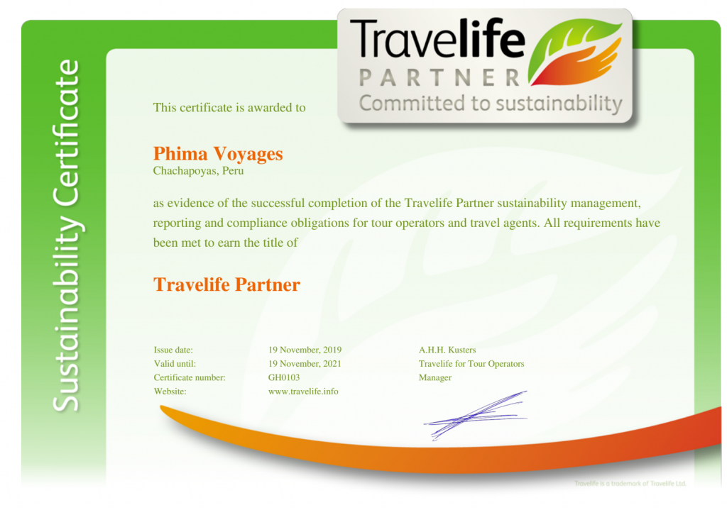 Phima Voyages Travelife Partner Award November 2019